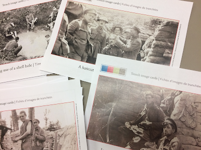 trench image cards - soldiers in the trenches engaged in daily activities