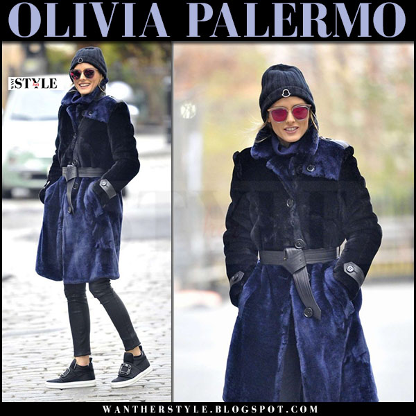 Olivia Palermo in navy blue fur coat maximilian, black leather pants j brand edita and black slip on sneakers roger vivier high top sneaky viv what she wore