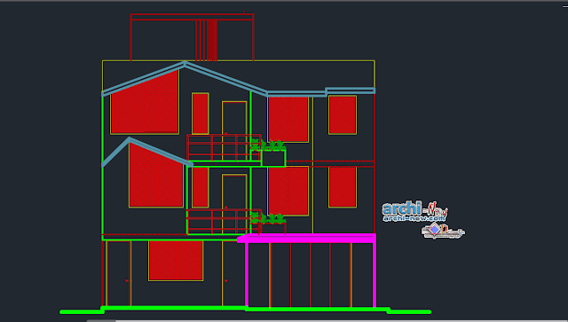 House in Arequipa houseroom in AutoCAD