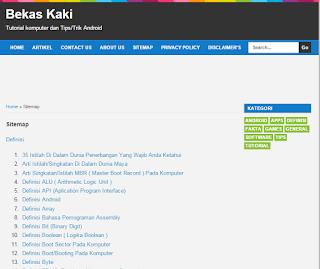 Definisi Istilah Sitemap Dalam Dunia Website/Blog