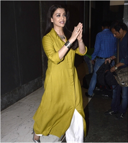 Aishwarya Rai Payal Khandwala Kurti Teamed with White Palazzo Pant