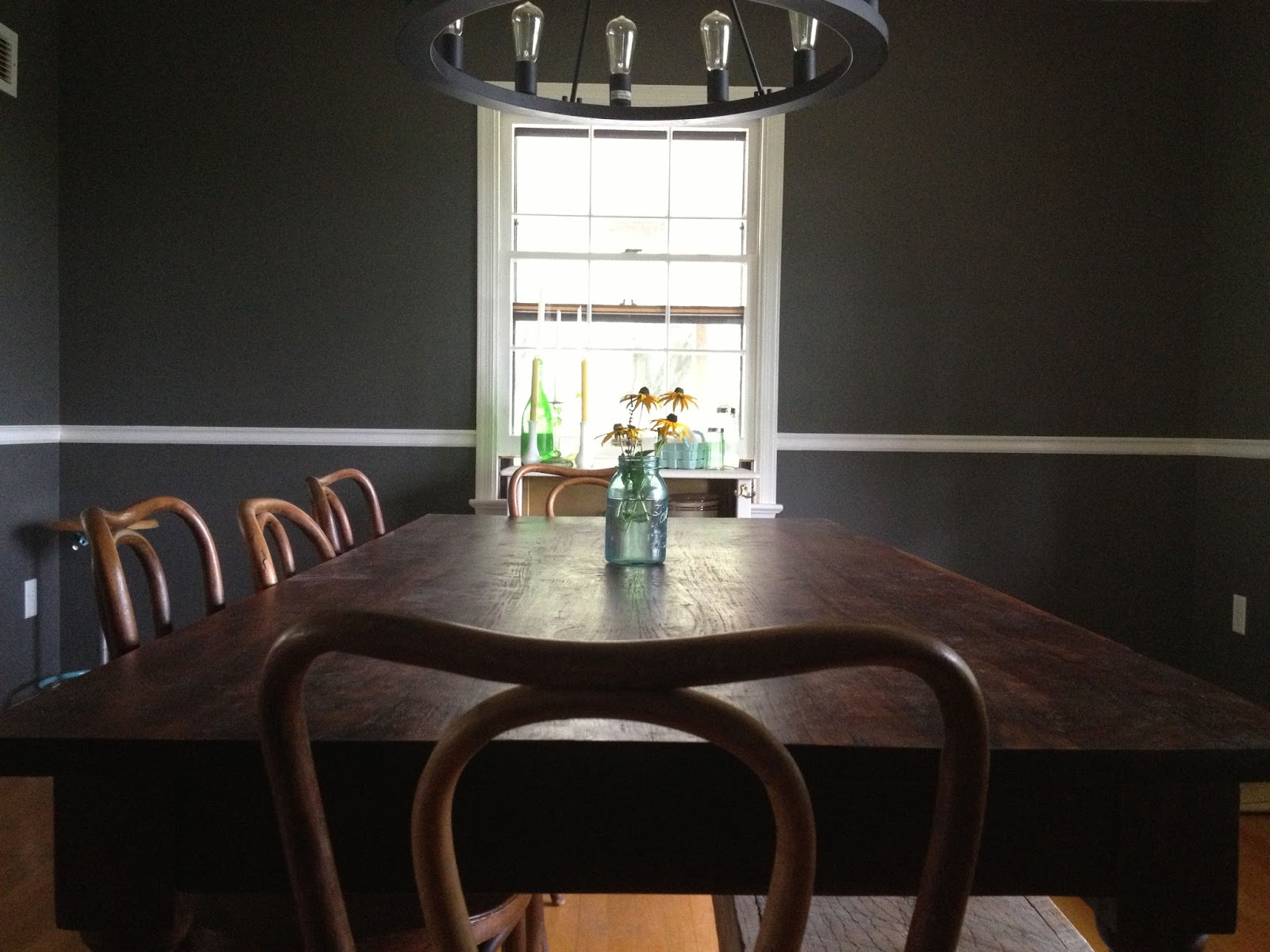 Charcoal gray dining room