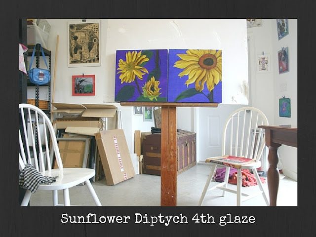 My studio PREVIEW of SUNFLOWER Diptych 4th glaze.