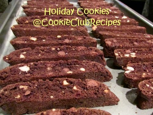Double Chocolate Macadamia Biscotti with Dutch Cocoa Recipe at CookieClubRecipes. YUM!
