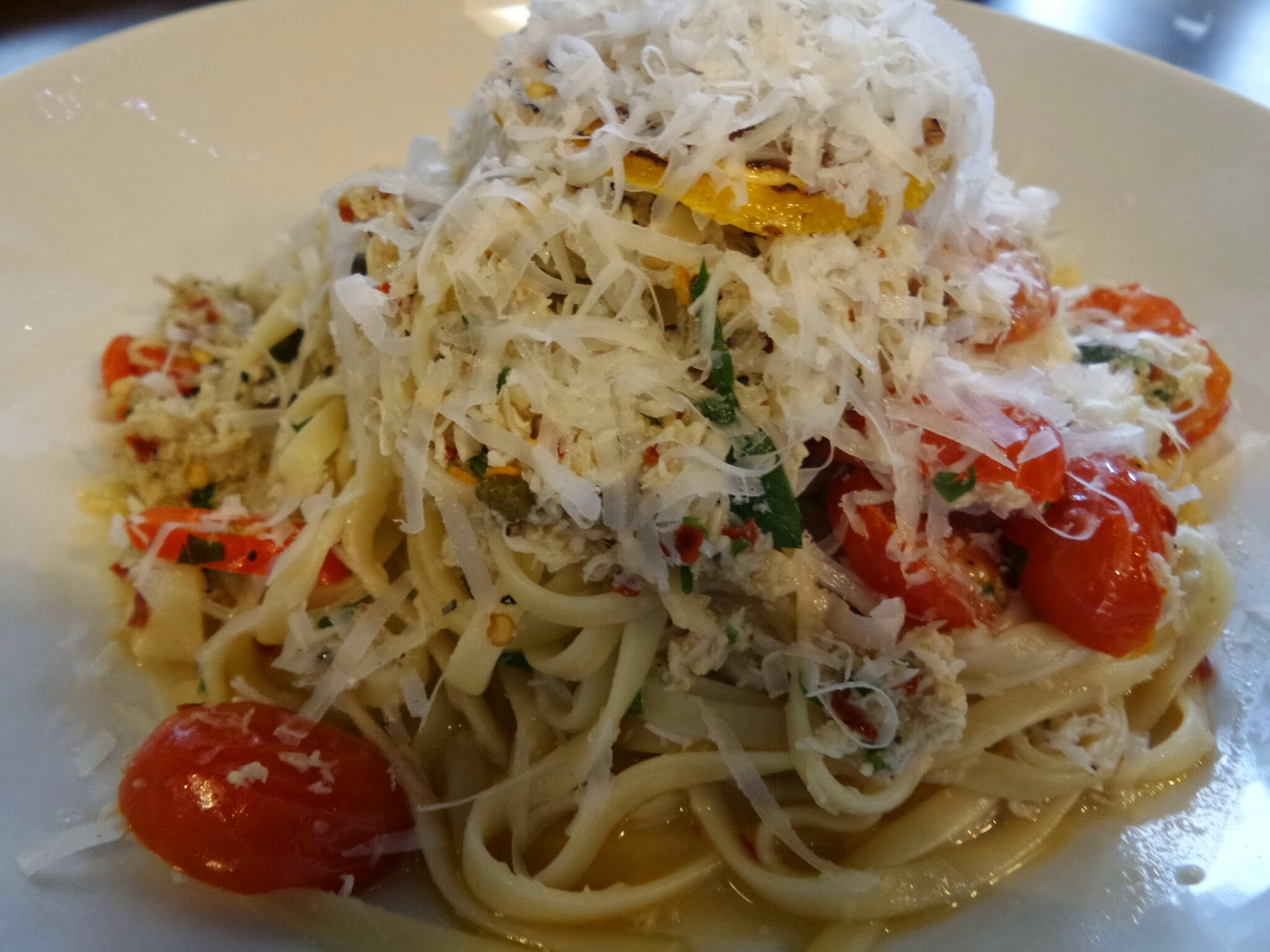 Zizzi's Crab Linguine under a mountain of Cheese