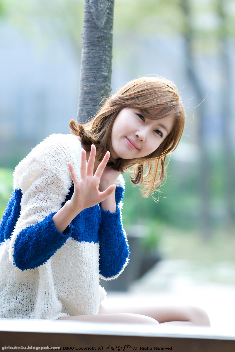 Choi Byul-I – Blue and White Sweater ~ Cute Girl - Asian Girl