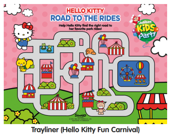 Tray liner for Jollibee Party Theme - Hello Kitty Fun Carnival