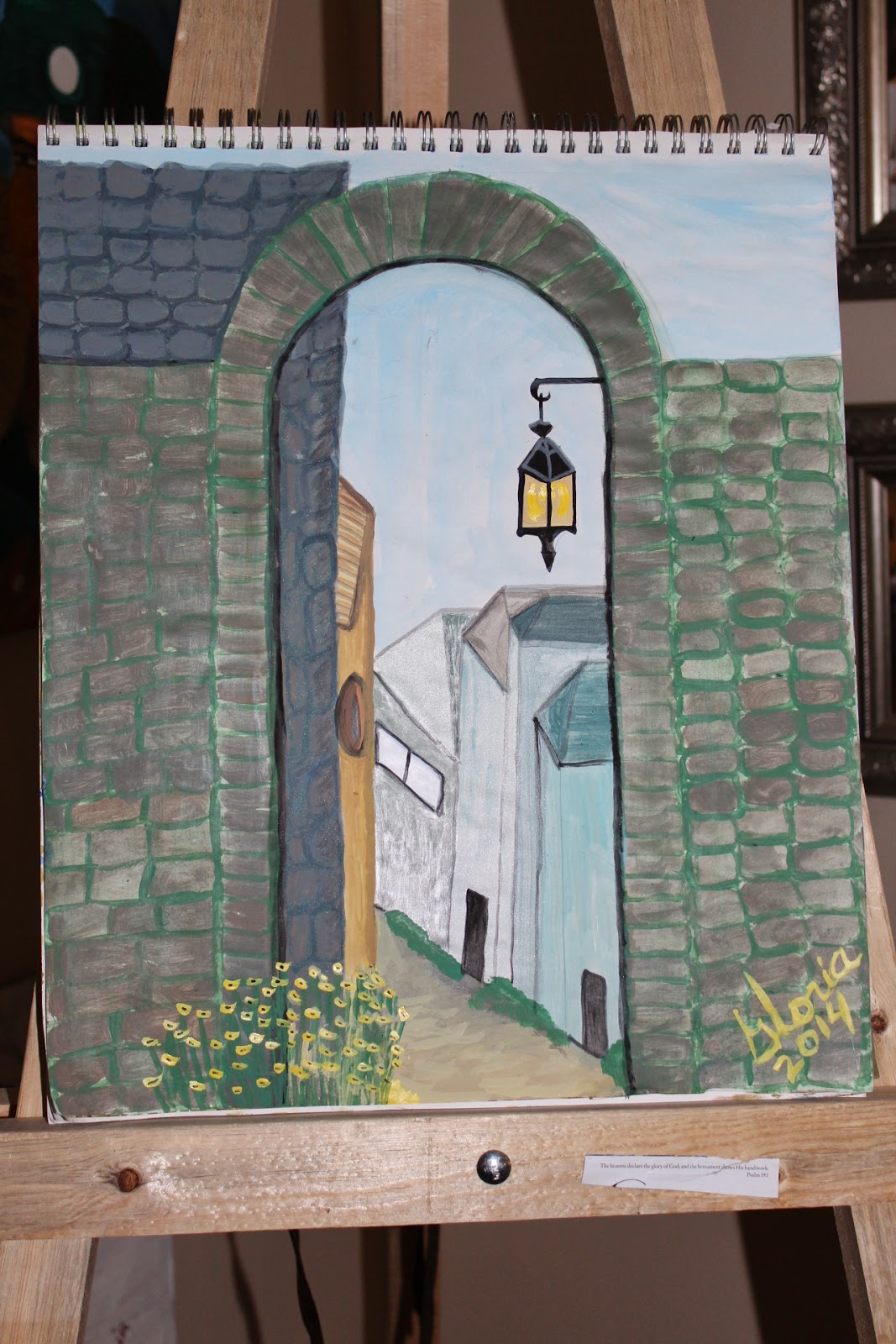 """The Village Gate"" sketch by Gloria Poole; acrylics; Feb 2014"