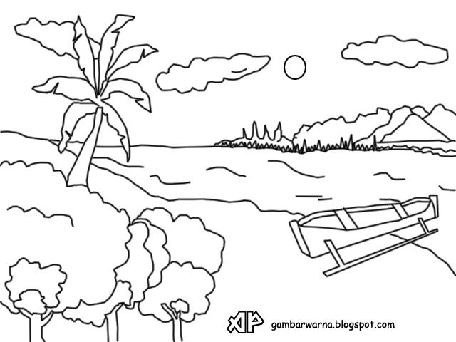 Mewarnai  Pemandangan Pantai Belajar Mewarnai  Gambar