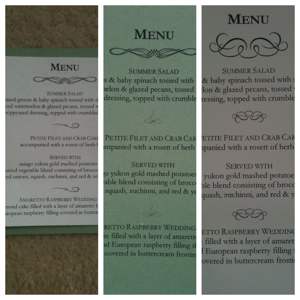 Big Wedding Tiny Budget: Menu Cards