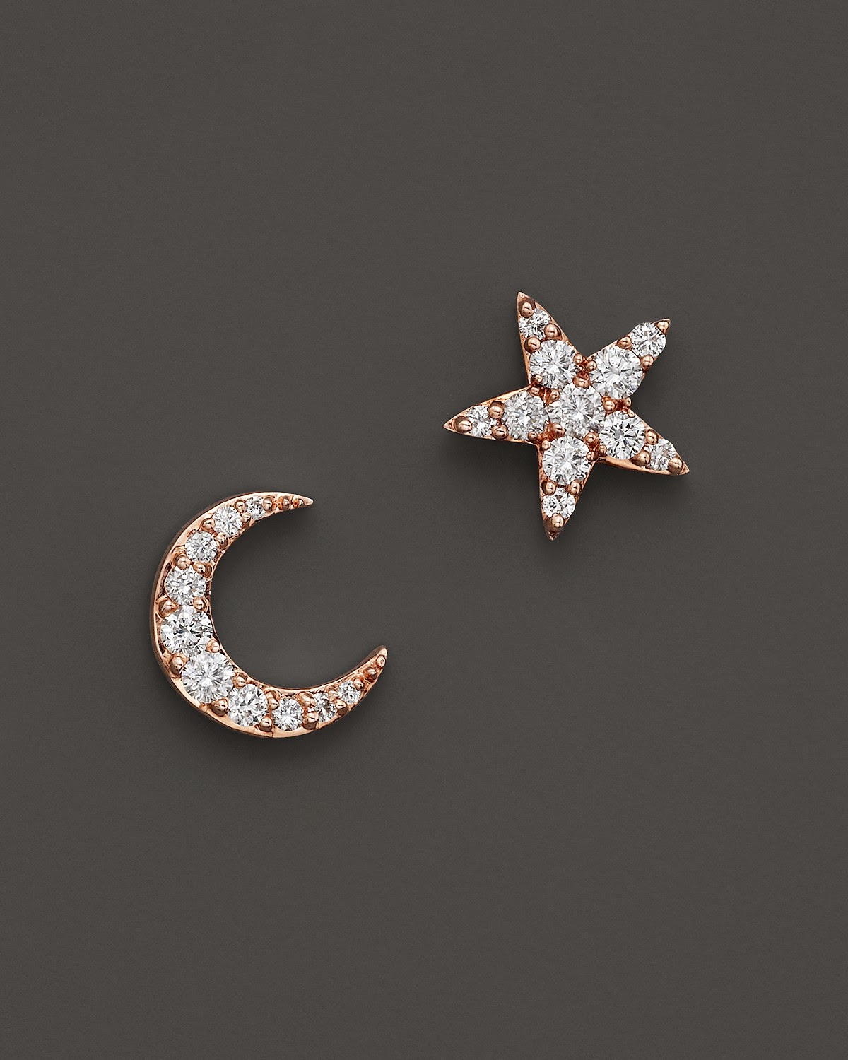 Diamond Earrings For Baby Star And Moon Shapes