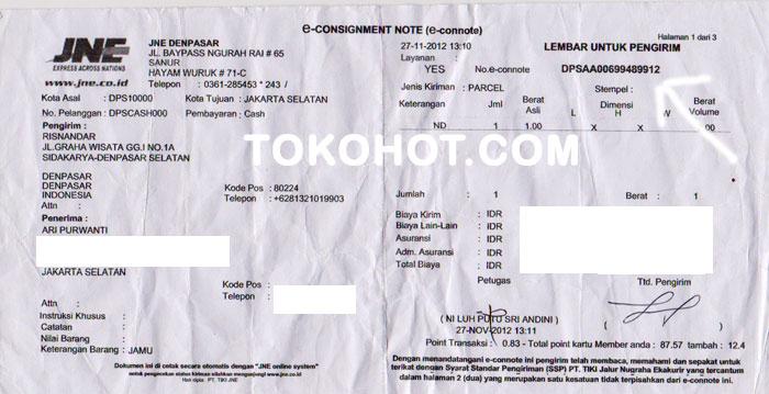 nomor bukti resi pengiriman JNE dan Pos: LADYFEM dan TDM
