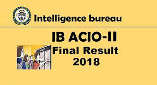 IB ACIO Grade-II Final Result 2018 Out