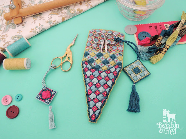 Needlepoint Scissor Pouch and matching minders by Bobbin and Fred