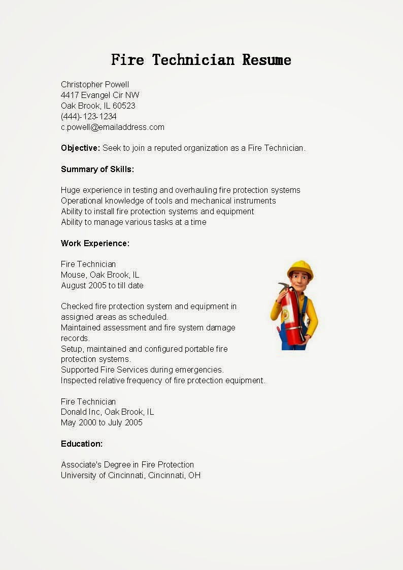 resume samples  fire technician resume sample