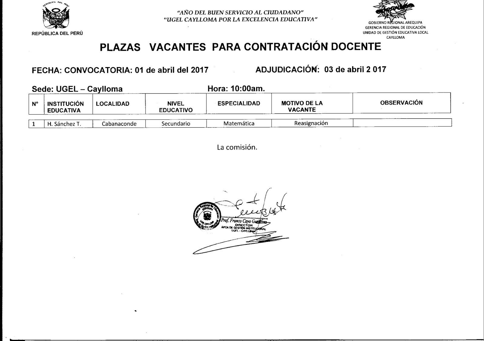 Convocatoria para contrataci n docente de matem tica 03 for Convocatoria de plazas docentes 2017