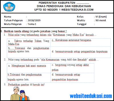 Soal PAS/ UAS Kelas 6 SD/MI K13 Revisi 2018