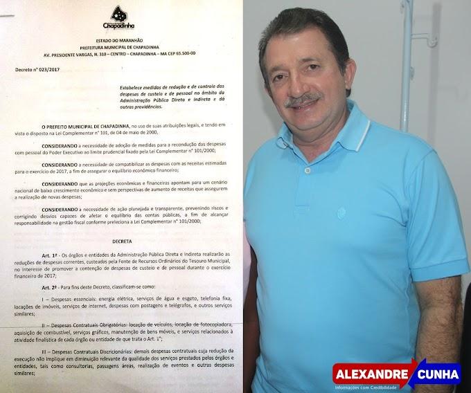 Prefeito Magno Bacelar assina decreto de contingenciamento de despesas