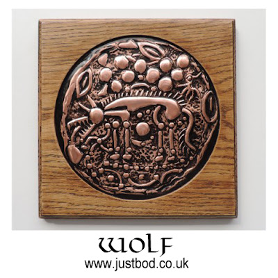 Norfolk wolf hand sculpted celtic coin plaque