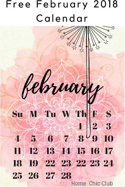 Free February 2018 Calendar