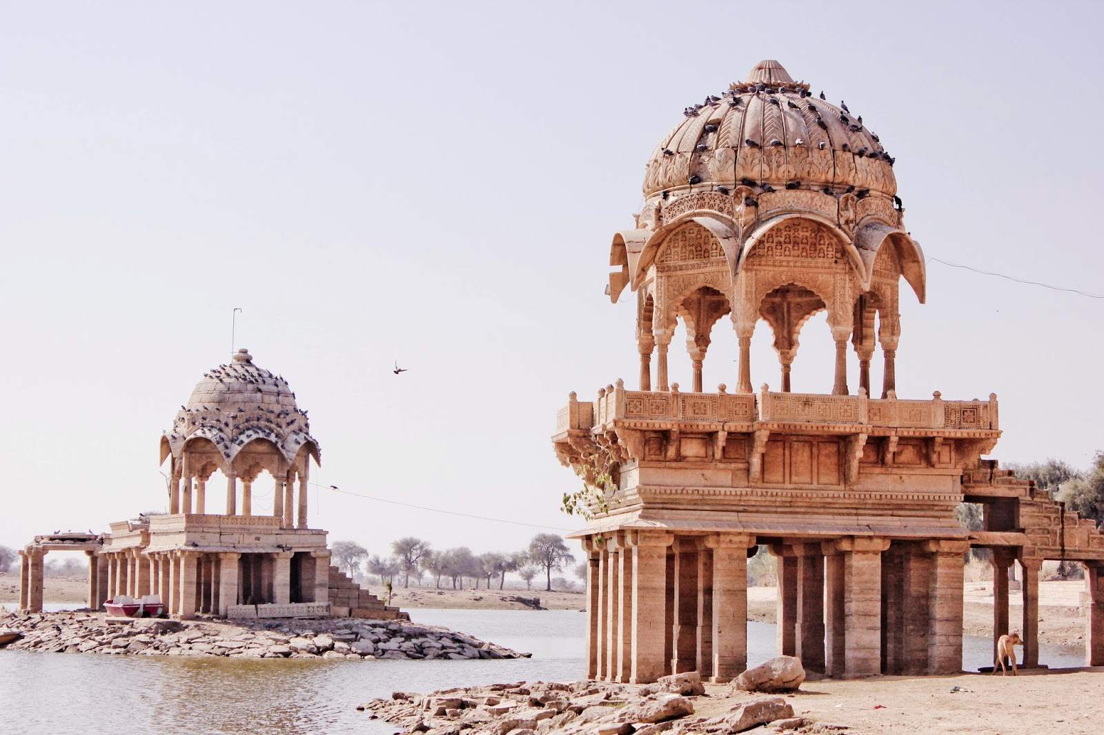 View shrines at the Gadisar Lake, Jaisalmer