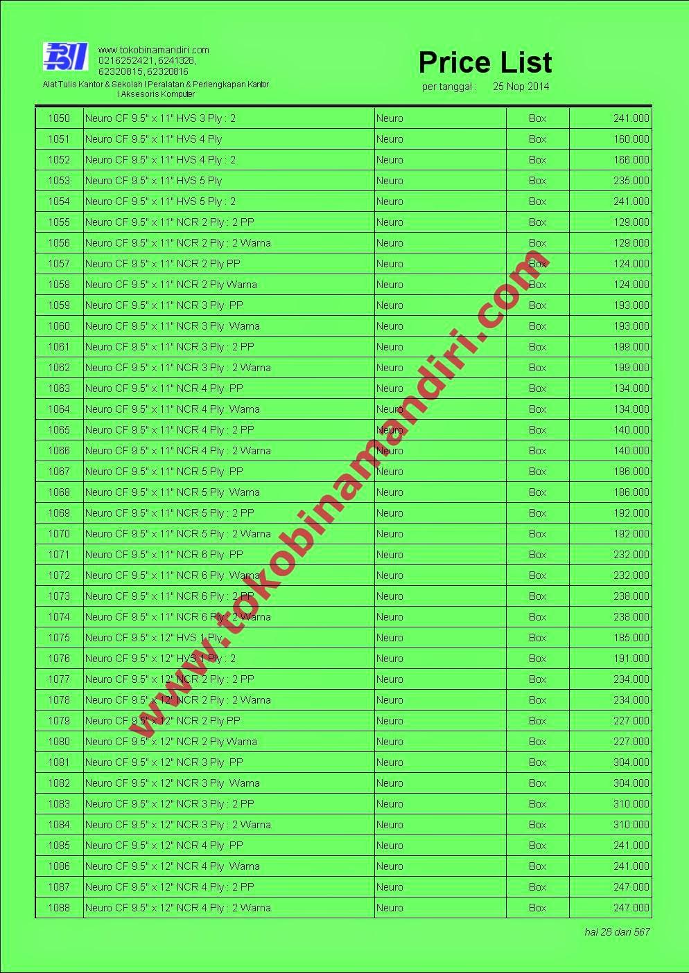 daftar harga stationery sekolah | CV. Bina Mandiri - toko alat tulis kantor agen perlengkapan sekolah