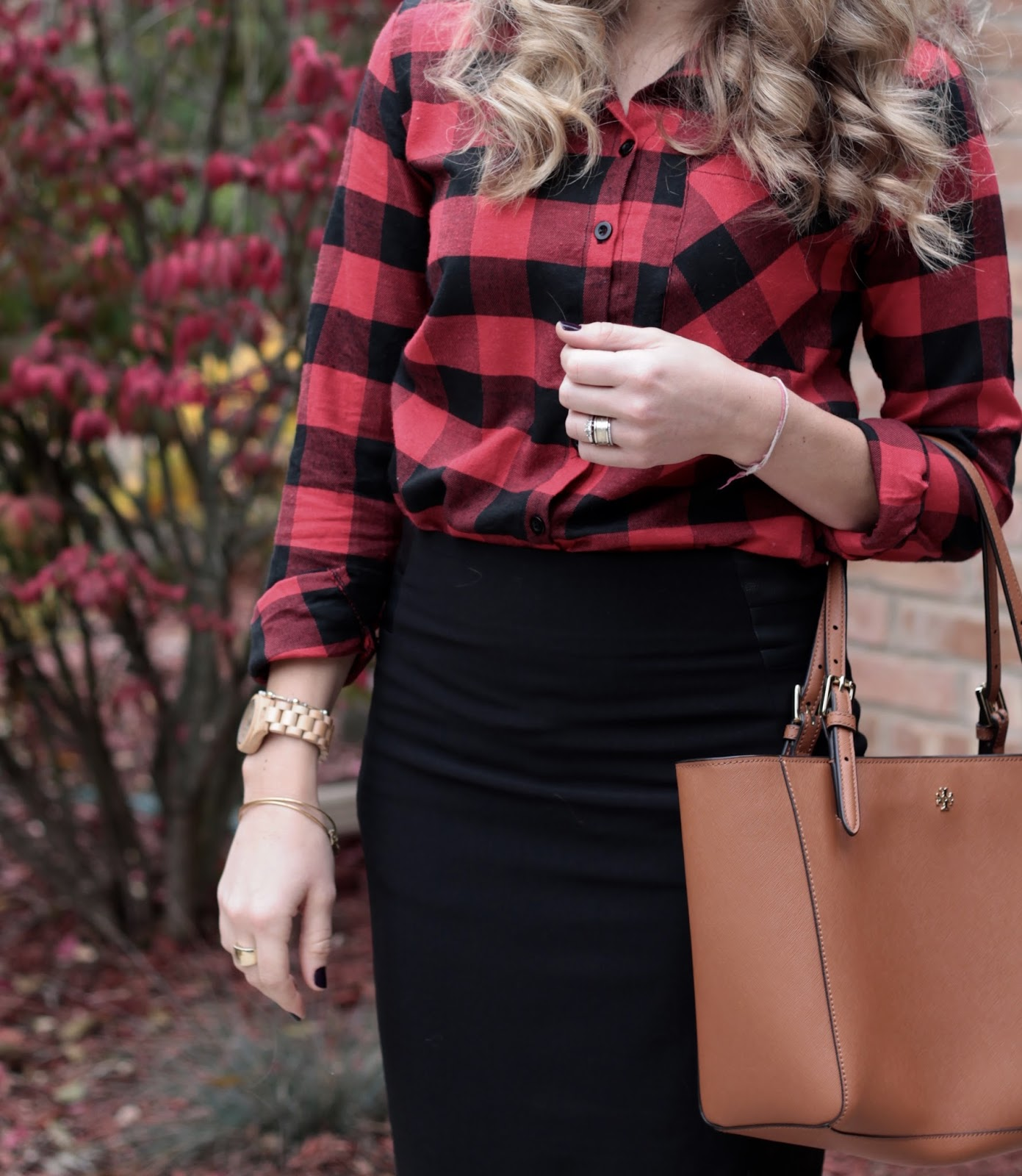 buffalo plaid top, black pencil skirt, cognac riding boots, Tory Burch tote