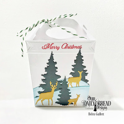 Our Daily Bread Designs Stamp Set: We've Moved, Custom Dies: Trees & Deer, Curvy Slopes, Pennant Flags, Glorious Gable Box, Paper Collections: Christmas 2017, Wedding Wishes