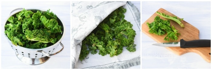 Preparing kale for making kale crisps. Washing, drying and cutting off stems