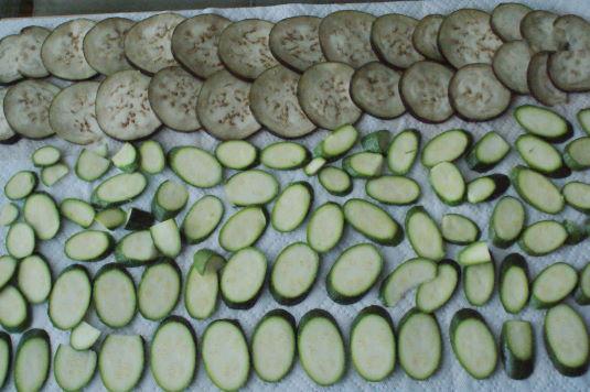 Salting the eggplant and zucchini