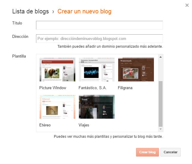 botón para poder crear un nuevo blog