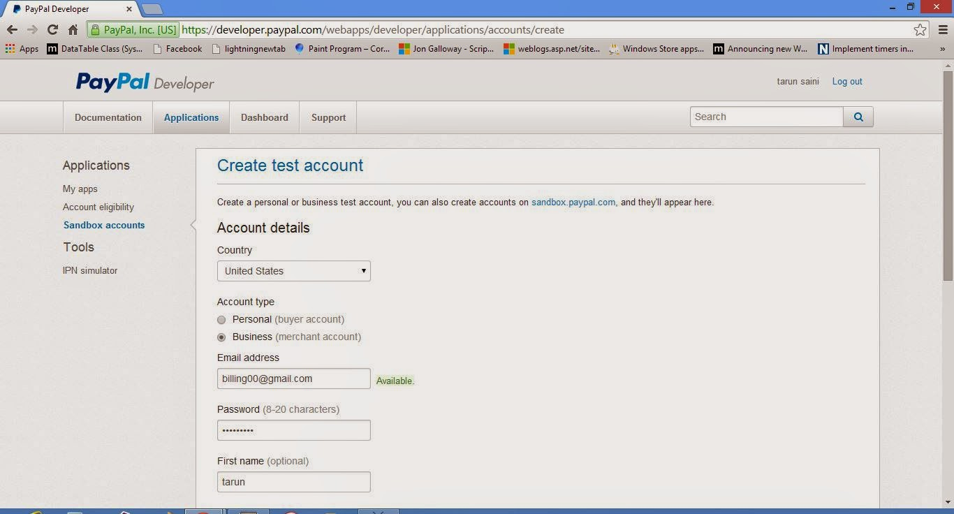 first to create a new test account for business in paypal