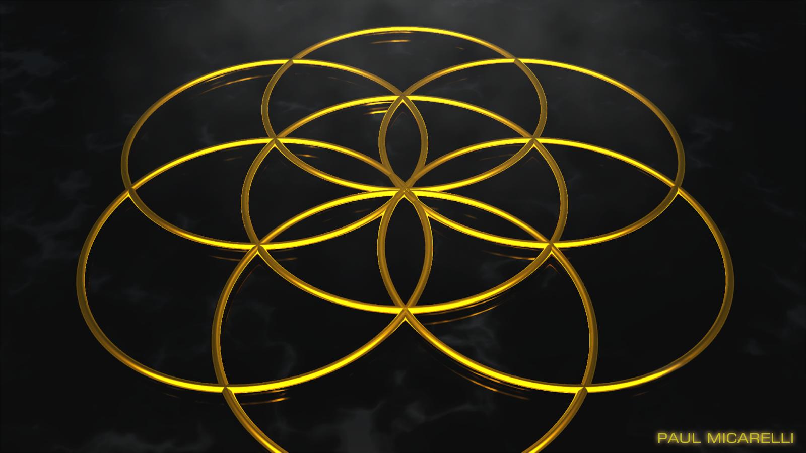 The Monkey Buddha: Seed of Life- Gold on Black