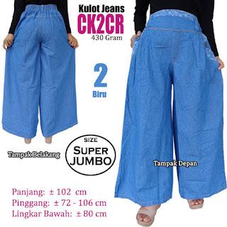 Celana kulot jeans panjang super jumbo big size