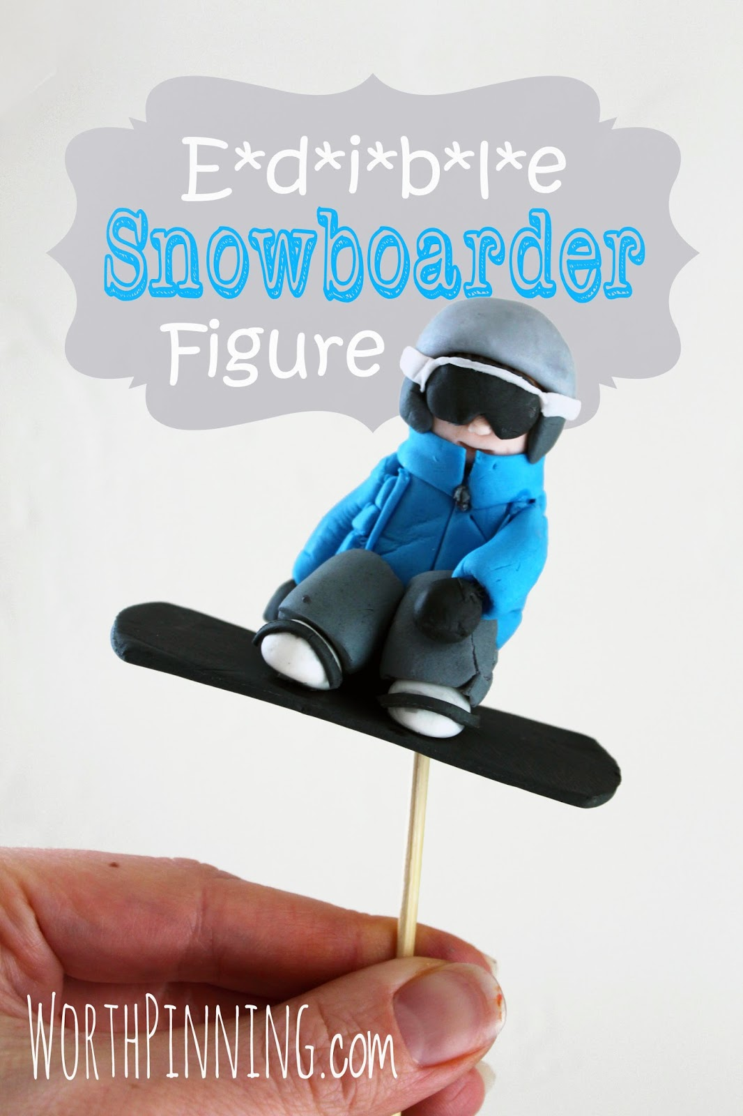 Worth Pinning Edible Snowboarder Figure Cake Topper
