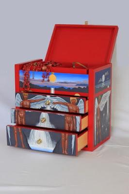 boîte à bijoux, bois, tempera, lune, étoile, soleil, pierre de lune