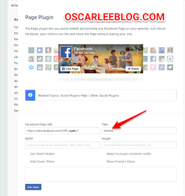 Facebook page Plugin widget code
