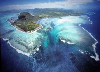 A low waterfall of the sea in Mauritius