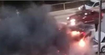 حريق سيارة أعلى كوبري ثروت بالجيزة يتسبب في كثافة مرورية