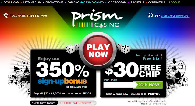 Visit Prism Casino now: get 350% bonus and $30 free