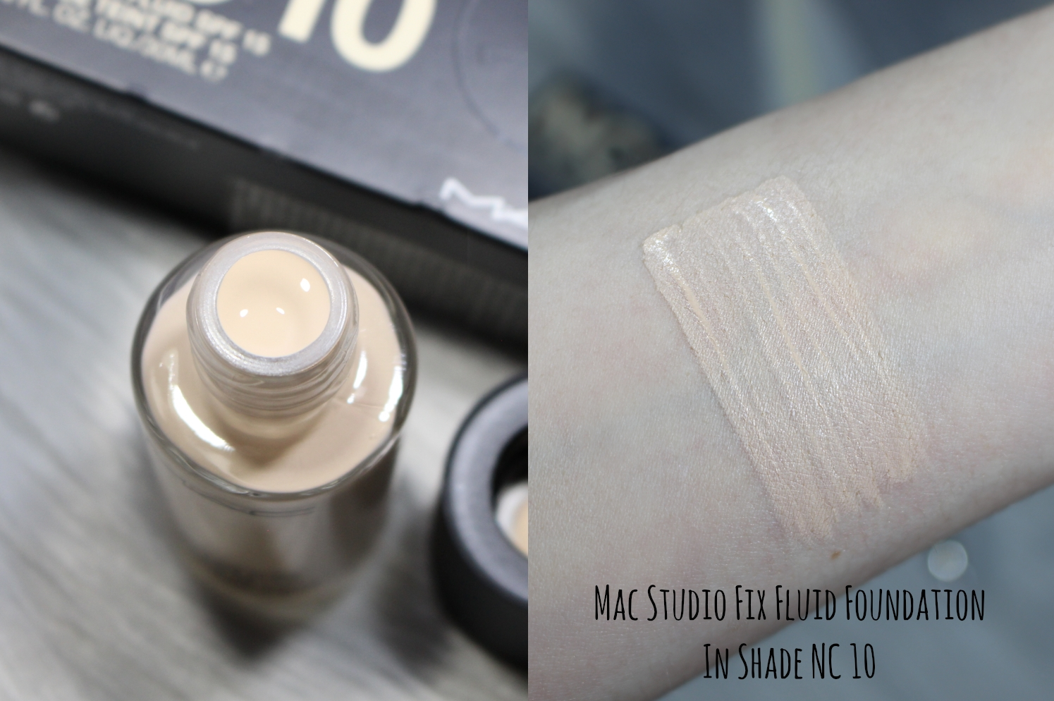 Mac Cosmetics Studio Fix Fluid Foundation In Shade NC 10 swatch on a hand