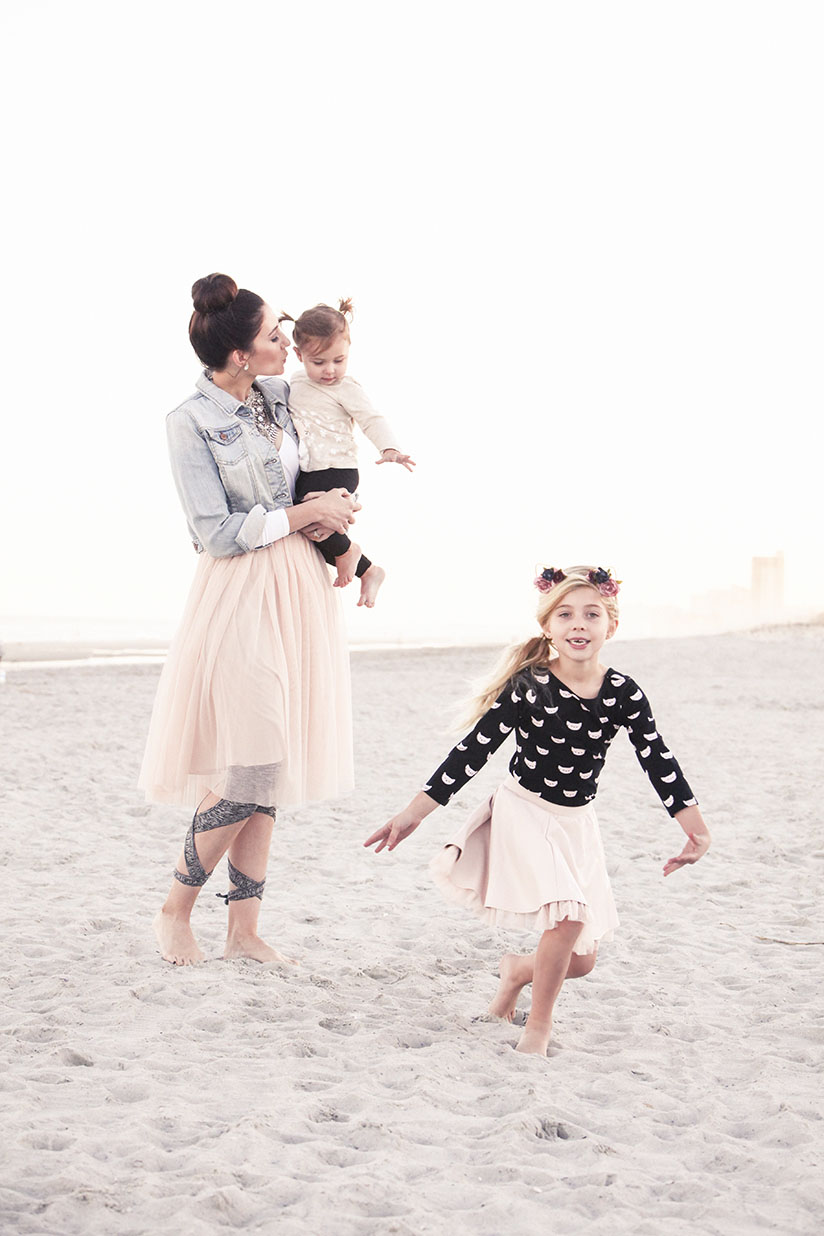 Amy West and daughters in ballet inspired fashion