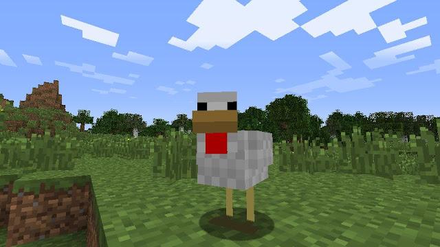 pollo de minecraft mirando al jugador