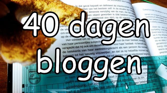 Boek met daarboven de tekst 40 dagen bloggen en een krakeling.