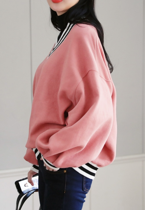 V-Neck Loose Fit Sweatshirt