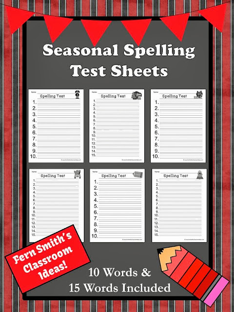 Fern Smith's Free Seasonal Blank Spelling Test Sheets.