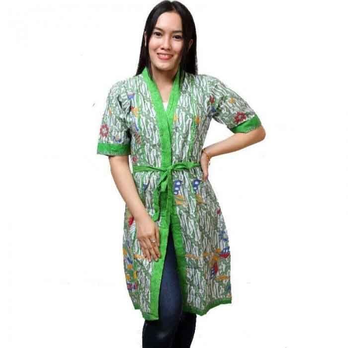 14 Model Cardigan Batik Panjang Wanita Modern Unik Dan