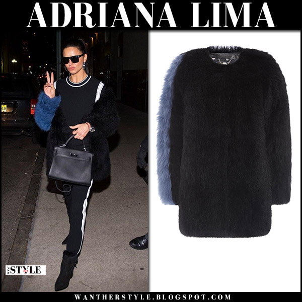 Adriana Lima in black fur coat with blue sleeve charlotte simone winter style january 14