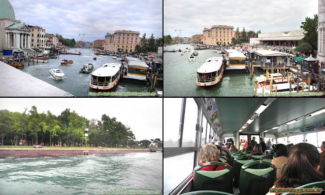 Estação de vaporetto em Veneza e interior do barco