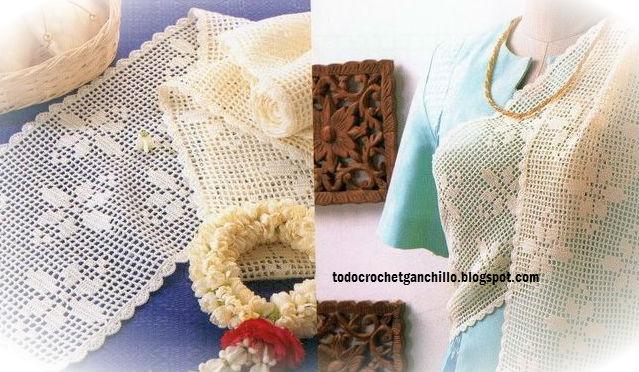 patrones ganchillo filet camino de mesa y bufanda